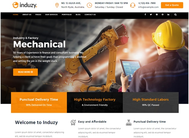 construction website design ideas